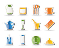 Restaurant, cafe, bar and night club icons Royalty Free Stock Photos
