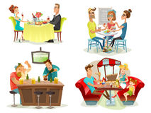 Restaurant Cafe Bar People 4 Icons Royalty Free Stock Photo