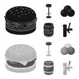 Restaurant, cafe, chair, bowling ball .Pub set collection icons in black,monochrom style vector symbol stock. Illustration Royalty Free Stock Image