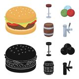 Restaurant, cafe, chair, bowling ball .Pub set collection icons in cartoon,black style vector symbol stock illustration.  Stock Photo