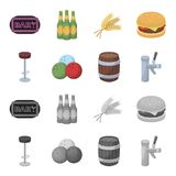 Restaurant, cafe, chair, bowling ball .Pub set collection icons in cartoon,monochrome style vector symbol stock. Illustration Stock Image