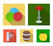 Restaurant, cafe, chair, bowling ball .Pub set collection icons in flat style vector symbol stock illustration web. Restaurant, cafe, chair, bowling ball .Pub Stock Image