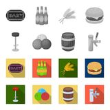 Restaurant, cafe, chair, bowling ball .Pub set collection icons in monochrome,flat style vector symbol stock. Illustration Stock Photos