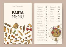 Restaurant or cafe dining menu template with plate of cooked delicious spaghetti, different types of uncooked pasta and Royalty Free Stock Image