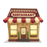Restaurant or cafe. Exterior building. Vector cartoon illustration. Food and drink Stock Images