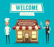 Restaurant or cafe. Exterior building. Vector cartoon illustration Royalty Free Stock Image