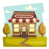 Restaurant or cafe. Exterior building. Vector cartoon illustration Stock Images