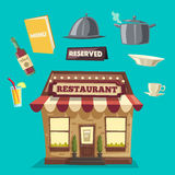 Restaurant or cafe. Exterior building. Vector cartoon illustration vector illustration