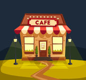 Restaurant or cafe. Exterior building. Vector cartoon illustration stock illustration