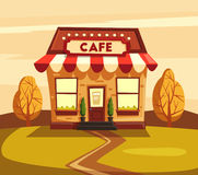 Restaurant or cafe. Exterior building. Vector cartoon illustration royalty free illustration