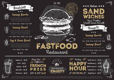 Restaurant cafe fast food menu template Royalty Free Stock Photography