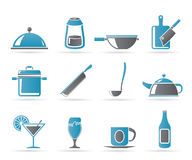 Restaurant, cafe, food and drink icons Stock Image