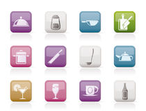 Restaurant, cafe, food and drink icons Royalty Free Stock Photos