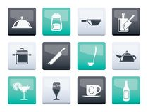 Restaurant, cafe, food and drink icons over color background royalty free stock photos