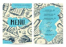 Restaurant and cafe food menu design. Hand drawn price catalog, junk food card with snack linear sketches. Fast foodtemplate with hand drawn pizza, hot dog Royalty Free Stock Photography