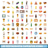 100 restaurant cafe icons set, cartoon style Royalty Free Stock Photo