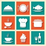 Restaurant cafe icons set Royalty Free Stock Images
