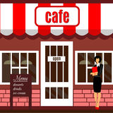 Restaurant or cafe illustration in flat style. Vector Royalty Free Stock Photo