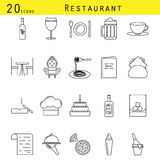 Restaurant and cafe line icon vector set. Royalty Free Stock Photo