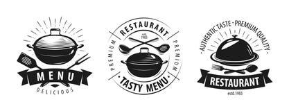 Restaurant, cafe logo or label. Emblems for menu design. Vector illustration. Isolated on white background stock illustration