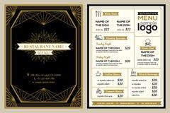 Restaurant or cafe menu cover design template with vintage retro frame stock illustration