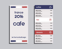 Restaurant and cafe menu. Flat design. France 2016 Royalty Free Stock Image