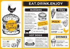 Restaurant cafe menu, template design. Stock Photography