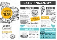 Restaurant cafe menu, template design. stock illustration