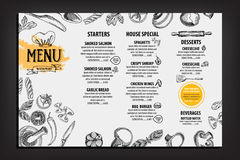 Restaurant cafe menu, template design. Food flyer. Stock Images