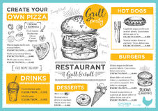 Restaurant cafe menu, template design. Stock Images