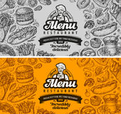 Restaurant cafe menu template design. sketch food Stock Photography
