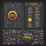 Restaurant cafe menu, template design. Vector restaurant brochure, menu design. Vector cafe template with hand-drawn graphic. Food flyer royalty free illustration