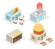 Restaurant, cafes and fast food shop icons Royalty Free Stock Image