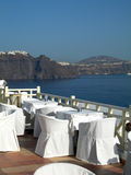 Restaurant caldera view santorini greek islands Stock Images