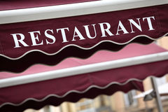 RFrench restaurant sidewalk cafe sign Paris France Stock Photos