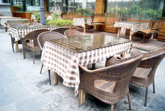 Restaurant cany chair and table. Have put good, to meet the customer's arrival Royalty Free Stock Photography