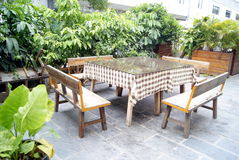 Restaurant cany chair and table. Have put good, to meet the customer's arrival Royalty Free Stock Photo