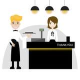 Restaurant cashier flat design vector stock photo