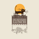 Restaurant with cat. Banner for restaurant with cat and fish Stock Photo