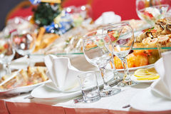 Restaurant catering table with food Stock Photos