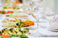 Restaurant catering table with food Royalty Free Stock Images