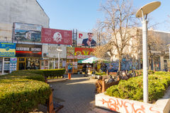 Restaurant in the center of Burgas, Bulgaria, December stock image