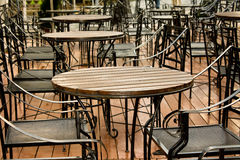 Restaurant chairs patio Royalty Free Stock Images