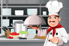Restaurant chef. A vector illustration of a restaurant chef holding a plate of food Stock Photos