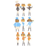 Restaurant Chef Cooks Set Of Man Cartoon Characters In Classic Double Breasted Jacket And Hat Royalty Free Stock Photo
