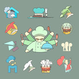 Restaurant Chef flat logo or icon Set on dark Stock Photography