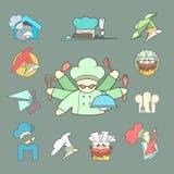 Restaurant Chef flat logo or icon Set on dark Stock Photography