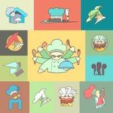 Restaurant Chef flat logo or icon Set. Vector Stock Photo