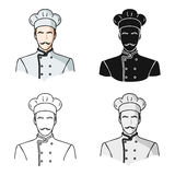 Restaurant chef icon in cartoon style isolated on white background. Restaurant symbol stock vector illustration. Royalty Free Stock Photo
