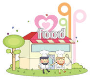 Restaurant chef line character illustration Stock Photography